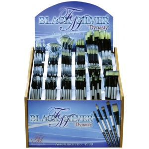 Dynasty Black Silver Blended Synthetic Watercolor Brush Display Assortment