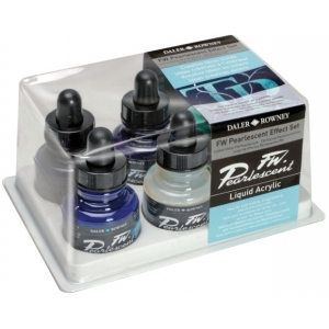 FW Liquid Artists' Acrylic Ink 6-Color Pearl Effects Set: Multi, Bottle, Acrylic, 1 oz, (model FW603200006), price per set