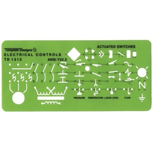 "Alvin® Electrical Controls Template: 3 3/4"" x 8"" x .030"", Electric/Electronic, (model TD1312), price per each"