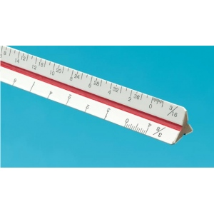 "Alvin® 40 Series 4"" Mini Hardwood Engineer Triangular Scale: White/Ivory, Wood, 4"", Engineer, (model 41MTS), price per each"
