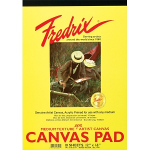"Fredrix® 8"" x 10"" White Canvas Pad: White/Ivory, Pad, 8"" x 10"", (model T3495), price per pad"