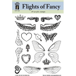 "Hot Off the Press Clear Acrylic Stamp Set Flights Of Fancy: Acrylic, No, 5 1/2"" x 7"", (model HOTP1009), price per each"
