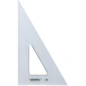 "Alvin® 12"" Academic Transparent Triangle 30°/60°: 30/60, Clear, Polystyrene, 12"", Triangle, (model S1390-12), price per each"