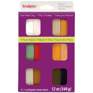 Sculpey® III Polymer Clay 12-Color Natural Set: Multi, Bar, Polymer, 1 oz, Oven Bake