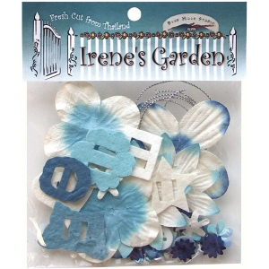 Blue Hills Studio™ Irene's Garden™ Potpourri Paper Flower & Embellishment Pack Blues: Blue, Paper, 20 mm, 30 mm, 50 mm - 52 mm, Dimensional