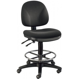 "Alvin® Prestige Artist/Drafting Chair 18"" Chrome Foot Ring: No, Black/Gray, Foot Ring Included, 24"" - 29"", 30"" & Up, Fabric, (model DC310-40), price per each"