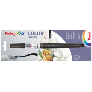 Pentel® Color Brush™ Pen Black: Black/Gray, Dye-Based, Water-Based, Refillable, Brush Nib, (model GFLBP101), price per each