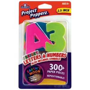Elmer's® Project Popperz™ Letters/Numbers/Symbols Bright: Multi, 2 1/2""