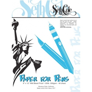 "Seth Cole 9"" x 12"" Premium Paper For Pens Pad: White/Ivory, Pad, 40 Sheets, 9"" x 12"", Smooth, 80 lb"