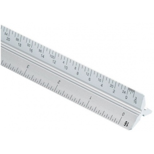 Alvin® 2200M Series 30cm Aluminum Metric Triangular Scale: White/Ivory, Aluminum, 30 cm, Metric, (model 2200M-6), price per each