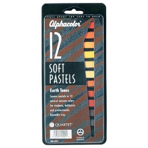 Alphacolor® Earth Tones Soft Pastels 12-Color Set: Multi, Stick, Soft, (model QT145011), price per set