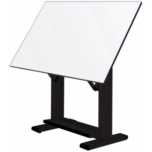 "Alvin® Elite Table Black Base White Top 37.5"" x72"": 0 - 85, Black/Gray, Steel, 38"" - 45"", White/Ivory, Melamine, 37 1/2"" x 72"""