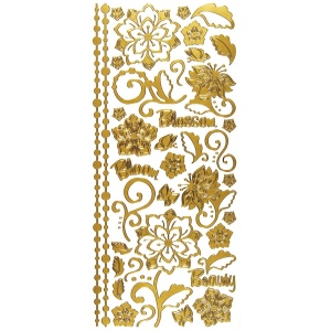 "Dazzles™ Stickers Whimsical Flowers Gold: Metallic, 4"" x 9"", Outline, (model HOTP2022), price per each"