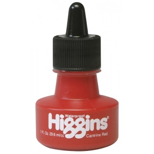 Higgins® Waterproof Color Drawing Ink Carmine Red: Red/Pink, Bottle, Dye-Based, 1 oz, Waterproof