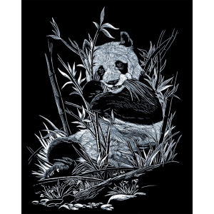 "Royal & Langnickel® Engraving Art Set Silver Foil Panda: 8"" x 10"", Metallic, (model SILF12), price per set"