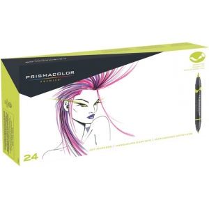 Prismacolor® Double Ended Brush Markers 24-Color Set: Multi, Double-Ended, Alcohol-Based, Dye-Based, Brush Nib