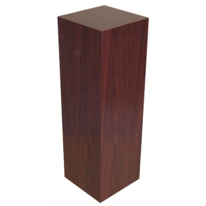 "Xylem Mahogany Stained Wood Veneer Pedestal: 15"" x 15"" Base, 18"" Height"