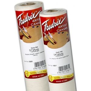"Fredrix® Artist Series 53 x 3yd Unprimed Cotton Canvas Roll: White/Ivory, Roll, Cotton, 53"" x 3 yd, Unprimed, (model T10691), price per roll"