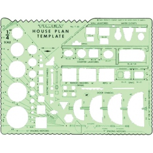 "Timely® House Plan Template: 1/4"" = 1', (model 30T), price per each"