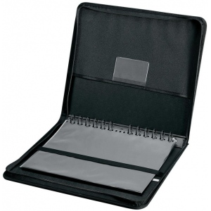 "Prestige™ Elegance™ Series Presentation Case 18 x 24: Black/Gray, Vinyl, 10 Pages, 10 Protective Sleeves, 18"" x 24"""