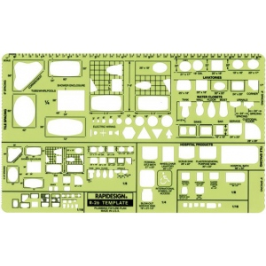 "Rapidesign® Plumbing Fixture – Plan Template: 1/16"", 1/4"" = 1', 1/8"", (model 26R), price per each"