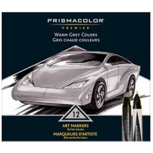 Prismacolor® Premier Art Marker 12-Color Warm Grey Set: Multi, Double-Ended, Alcohol-Based, Dye-Based, Extra Broad Nib, Fine Nib, (model BP12Q), price per set
