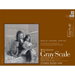 "Strathmore® 400 Series 18"" x 24"" Assorted Tints Glue Bound Gray Scale Pad: Glue Bound, Multi, Pad, 15 Sheets, 12"" x 18"", Gray Scale, 80 lb, (model ST4400-18), price per 15 Sheets pad"
