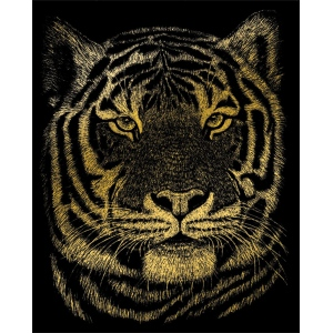 "Royal & Langnickel® Engraving Art Set Gold Foil Bengal Tiger: 8"" x 10"", Metallic, (model GOLF23), price per set"