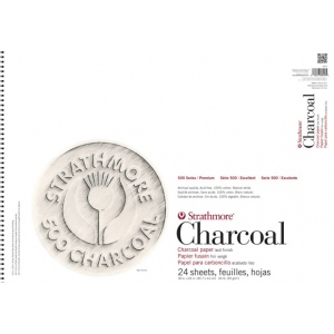 Strathmore® 500 Series White Wire Bound Charcoal Pad