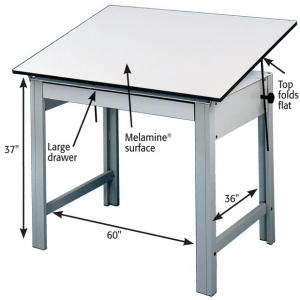 "Alvin® DesignMaster Table Gray Base White Top 37.5"" x 72"": 0 - 45, Black/Gray, Steel, 37"", Black/Gray, Melamine, 37 1/2"" x 72"", (model DM72ND), price per each"