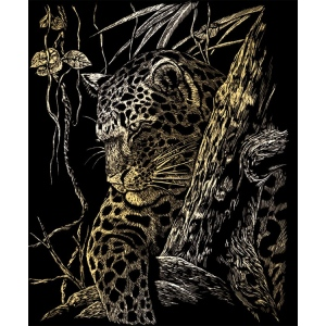 "Royal & Langnickel® Engraving Art Set Gold Foil Leopard Tree: 8"" x 10"", Metallic, (model GOLF21), price per set"