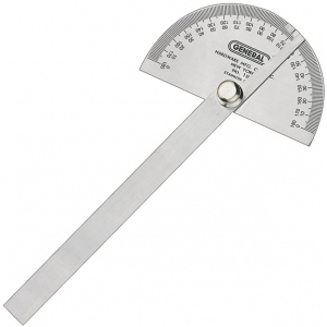 "General 3 3/8"" Round Head Steel Protractor with Arm"