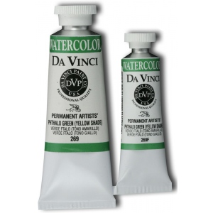 Da Vinci Artists' Watercolor Paint 37ml Phthalo Green Yellow Shade: Green, Tube, 37 ml, Watercolor, (model DAV269), price per tube