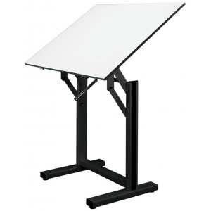 "Alvin® Ensign Table Black Base White Top 36"" x 48"": 0 - 90, Black/Gray, Steel, 37"" - 47"", White/Ivory, Melamine, 36"" x 48"", (model EN48-3), price per each"