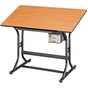 "Alvin Art Drawing and Hobby Table Black Base with Cherry Woodgrain Top 24"" x 40"""
