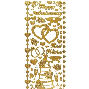 Dazzles Stickers Wedding & Anniversary Gold