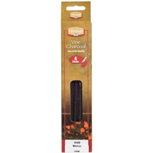 Heritage Arts™ Vine Charcoal Medium 4-Pack Set: Black/Gray, Medium, Stick, Vine, (model VH4M), price per pack