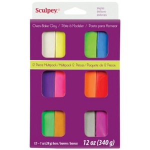 Sculpey® III Polymer Clay 12-Color Bright Set: Multi, Bar, Polymer, 1 oz, Oven Bake, (model S3VMB12), price per set
