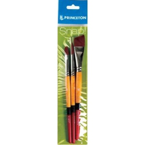 Princeton™ Snap! Golden Taklon Brush Set Filbert 8 Round 10 Angle Shader 3/4: Short Handle, Angular Shader, Filbert, Round, Acrylic, Watercolor, (model 9650SET-1), price per set
