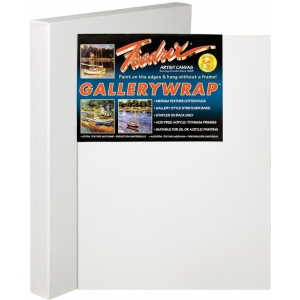 "Fredrix® Gallerywrap™ 20"" x 20"" Stretched Canvas: White/Ivory, Sheet, 20"" x 20"", 1 3/8"" x 1 3/8"", Stretched, (model T50850), price per each"