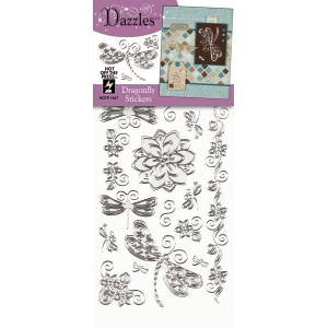 "Dazzles™ Stickers Silver Dragonfly: Metallic, 4"" x 9"", Outline, (model HOTP1847), price per each"