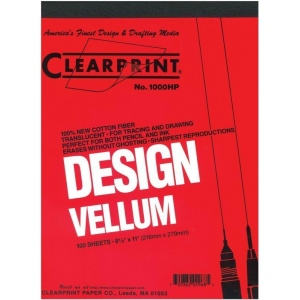 "Clearprint® 1000H Series 8.5 x 11 Unprinted Vellum 500-Sheet Pack: Pad, Unprinted, 500 Sheets, 8 1/2"" x 11"", 16 lb"