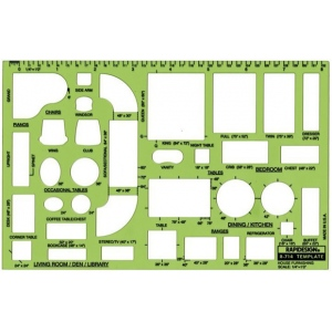 "Rapidesign® House Furnishing Template: 1/4"" = 1', (model 714R), price per each"