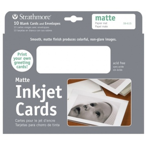 "Strathmore® 5"" x 7"" Matte Inkjet Cards: White/Ivory, Envelope Included, Card, 10 Cards, 5"" x 7"", Matte, 55 lb, (model ST59-615), price per 10 Cards"