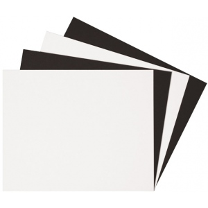 "Alvin® Black & White Mat Board 11 x 14: Black/Gray, White/Ivory, Sheet, 25 Sheets, 11"" x 14"", Mat Board, (model BW1114-25), price per 25 Sheets box"