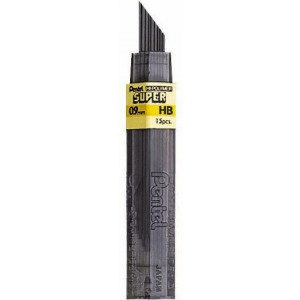 Pentel® Super Hi-Polymer® Lead .9mm B: B, Black/Gray, .9mm, 12-Pack, Lead, (model 50-9-B), price per tube
