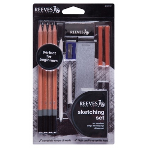 Reeves™ 13-Piece Artist Sketching Set: Black/Gray, Drawing, (model 8210112), price per set