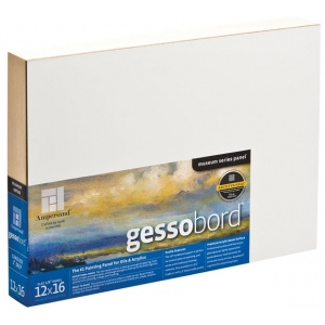 "Ampersand™ Gessobord™ Cradled 16 x 16: White/Ivory, Panel/Board, 16"" x 16"", Gesso, (model GBWC1616), price per each"