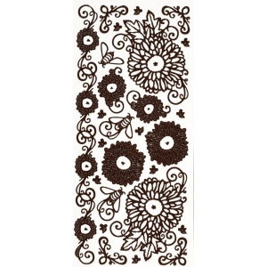 "Dazzles™ Stickers Brown Mums: Brown, 4"" x 9"", Outline, (model HOTP2098), price per each"