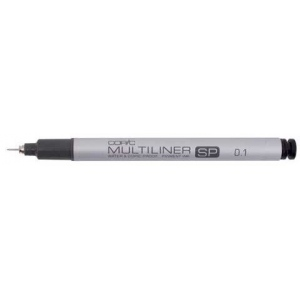 Copic® Multiliner SP (Refillable) Black Pen .1mm: Black/Gray, Pigment, Refillable, .1mm, Fine Nib, (model MLSP01), price per each
